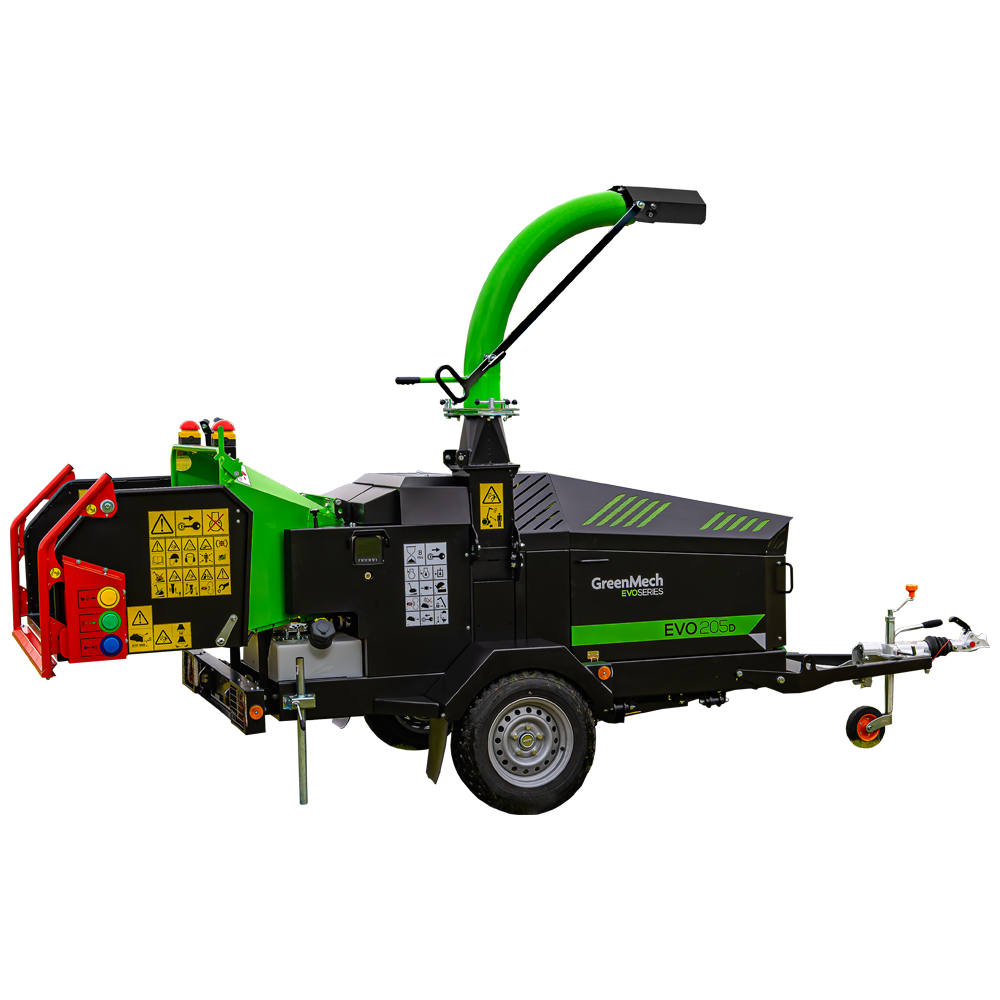 GreenMech EVO 205D woodchipper cut out on white background