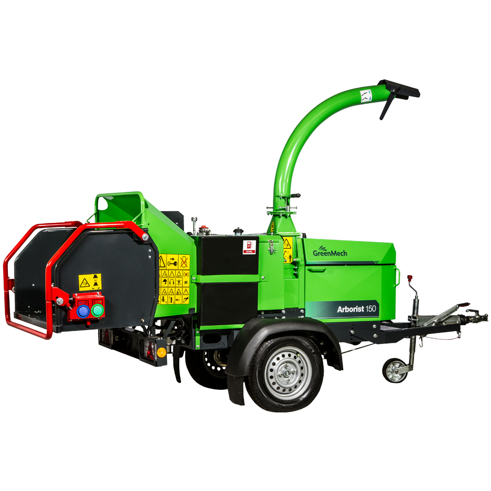 GreenMech Arborist 150D woodchipper cut out on white background