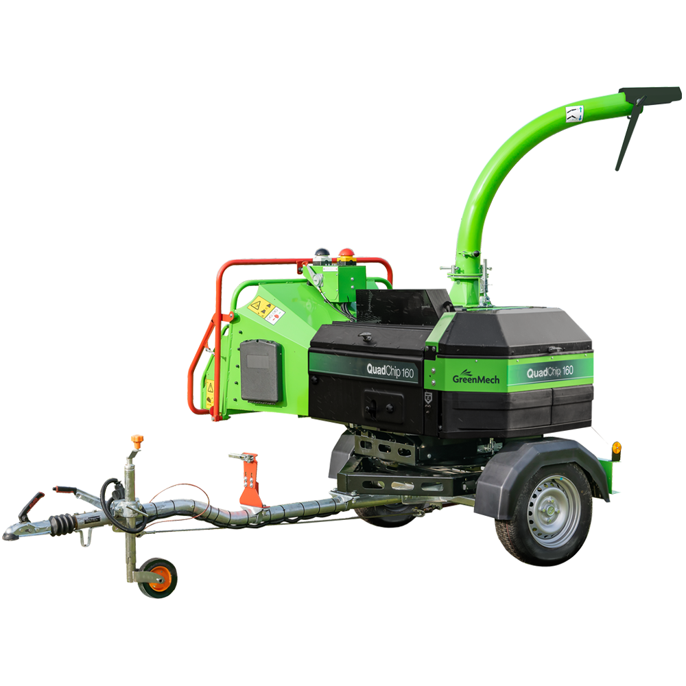 GreenMech QuadChip 160D woodchipper cut out on white background